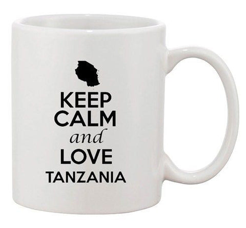 Keep Calm And Love Tanzania Country Map Patriotic Ceramic White Coffee Mug