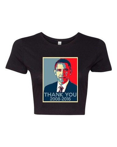 Crop Top Ladies New Thank You President Obama United States America T-Shirt Tee
