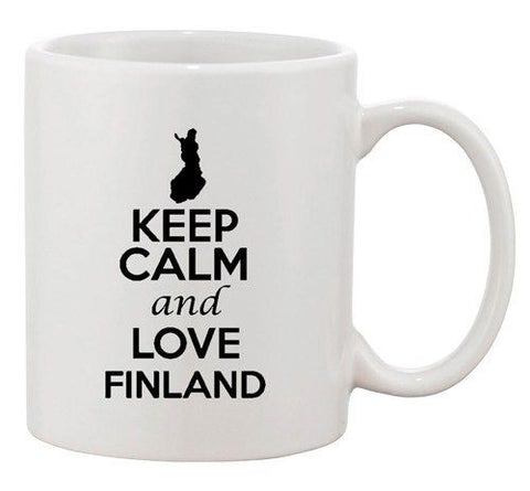 Keep Calm And Love Finland Europe Country Map Patriotic Ceramic White Coffee Mug