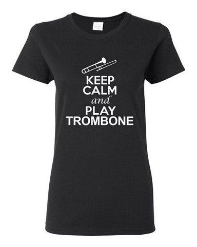 City Shirts Ladies Keep Calm And Play Trombone Brass Music Lover DT T-Shirt Tee
