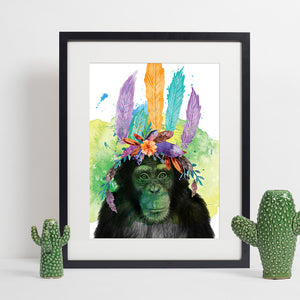 Colours of the Wild A3 Print - Chimp