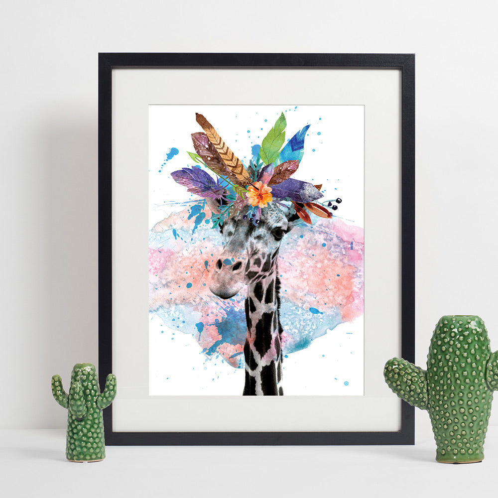 Colours of the Wild A3 Print - Giraffe