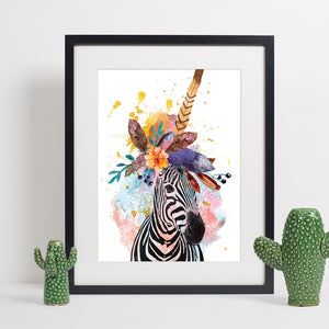 Colours of the Wild A3 Print - Zebra