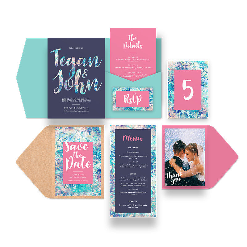 Coral Wedding Stationery Package