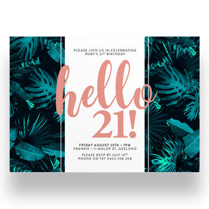 Monstera 21st Birthday Invitation