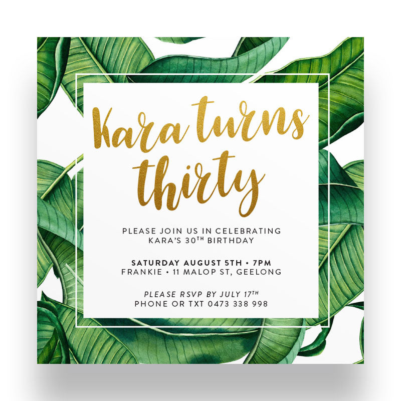 Tropicalia Gold Birthday Invitation