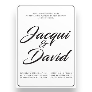 White Deco Wedding Invitation