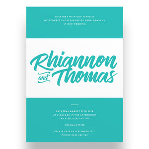 Modern Teal Wedding Invitation