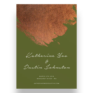 Rust Green Wedding Invitation