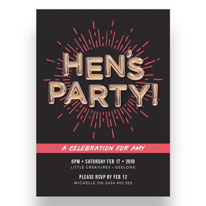 Party Balloons Hen's Party Invitation