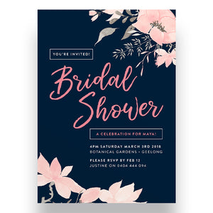 Navy Florals Bridal Shower Invitation