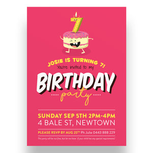 Quirky Cakes Kids Birthday Invitation