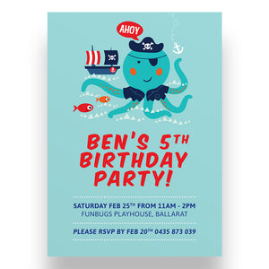 Octo Pirate Kids Birthday Invitation