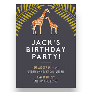 Giraffe Kids Birthday Invitation
