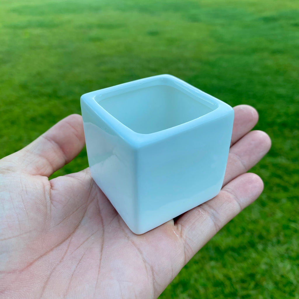 "Glazed Ceramic Rectangle Planter <br> 2"" x 2"" CUTE SIZE!"