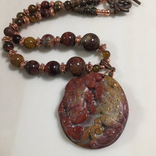 "16"" necklace with 2"" Red Jasper double Frog Carving pendant"