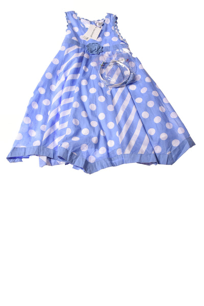 NEW Savannah Baby Dress 6 Blue & White
