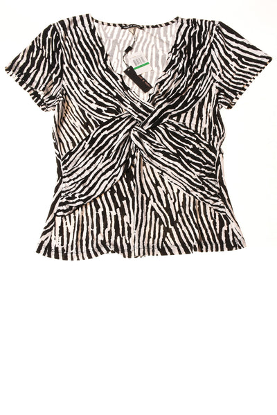 New Cable Gauge Womens Top Large Ivory Black Print Village