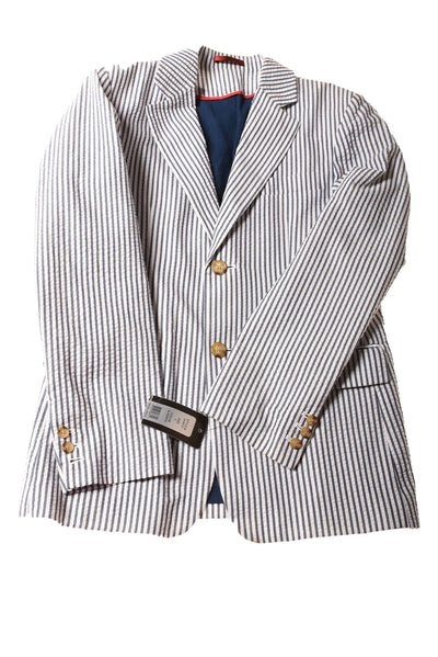 NEW Black Rivet Men's Jacket Small Blue & White / Striped