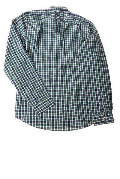 NEW Gap Men's Shirt Large Blue & Green Plaid