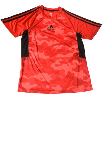 USED Adidas Boy's Shirt Large Red & Black / Print
