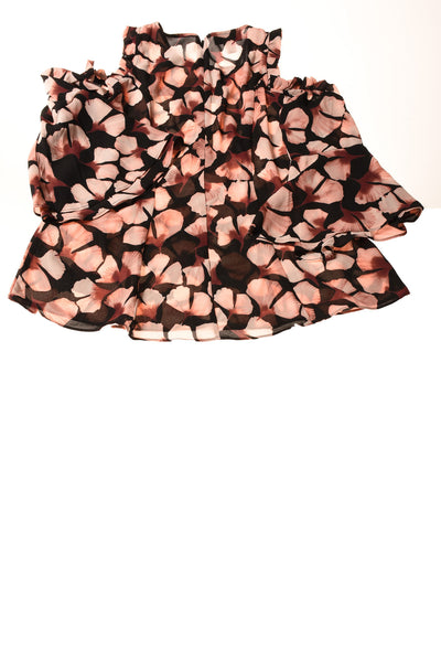 USED Alfani Women's Petite Top 6 Black & Pink / Print