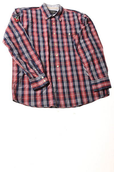 USED Nautica Jeans Co. Men's Shirt Large Blue & Red Plaid