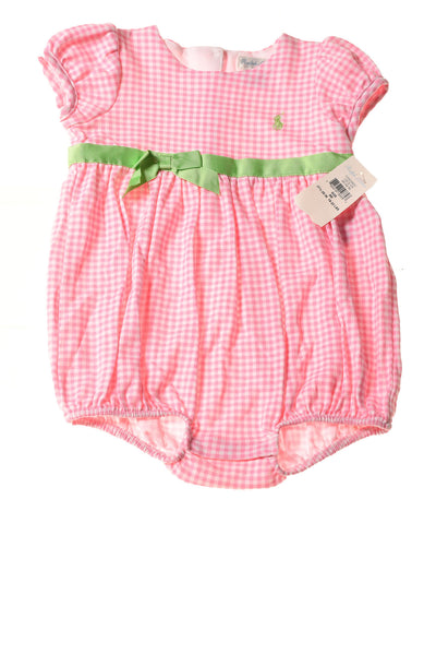 NEW Ralph Lauren Baby Girl's Romper 9 Months Pink & White / Plaid