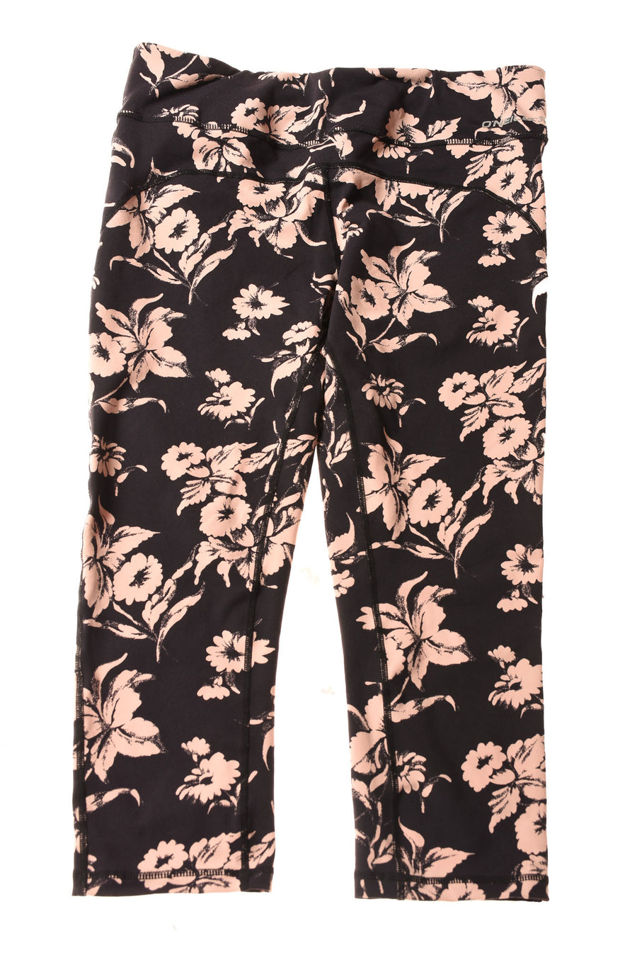 USED Oniel 365 Women's Yoga Pants Large Black & Peach / Floral