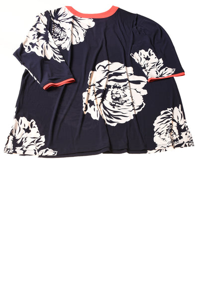 USED Susan Graver Women's Top 3X Navy / Floral