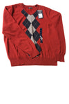 NEW Consensus Men's Sweater Medium Maroon Argyle / Print
