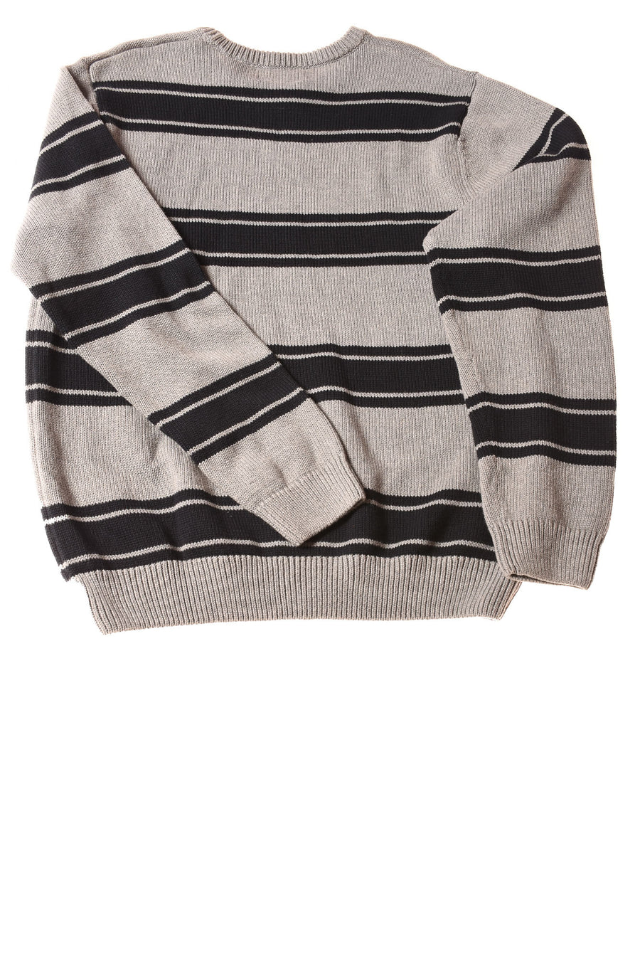 NEW Chaps Men's Sweater Large Gray & Navy / Striped