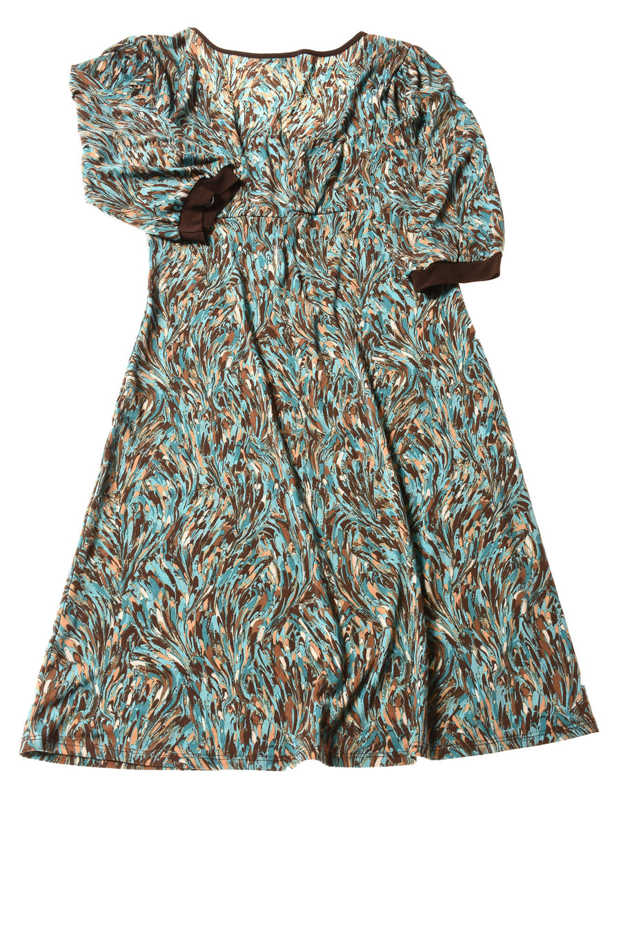 NEW Blue Heaven Women's Dress Large Brown & Blue