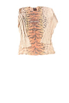 USED Harley Davidson Women's Top Large Tan/Print