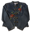 USED Live A Little Women's Petite Jacket Medium Blue/Floral