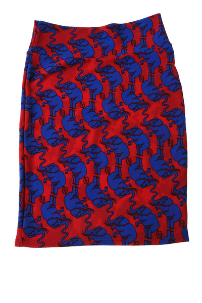 NEW Lula Roe Women's Skirt Small Blue & Red / Elephant Print