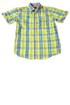 USED Nautica Boy's Top 14/16 Green & Blue Plaid