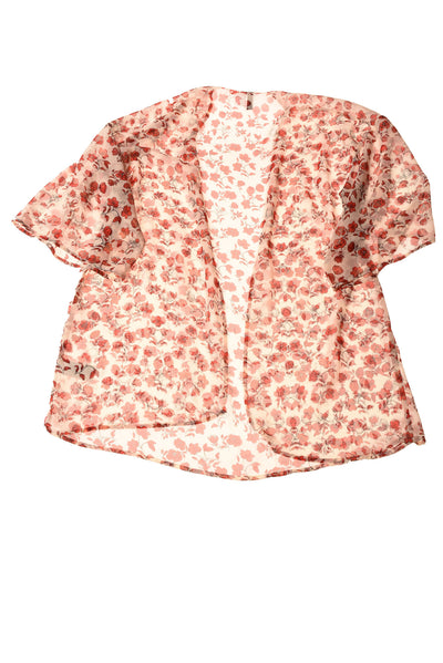 USED Divided Women's Top Small White / Rose Print