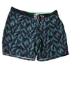NEW Express Men's Swimtrunk Large Navy Leaf Print