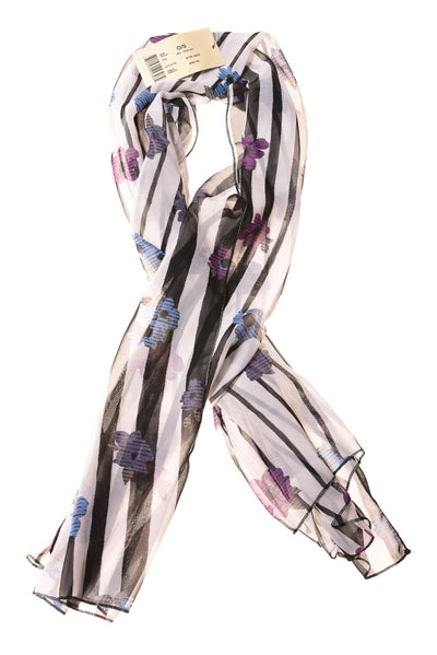 NEW Gideon Oberson Women's Scarf  One Size White / Floral & Striped Print