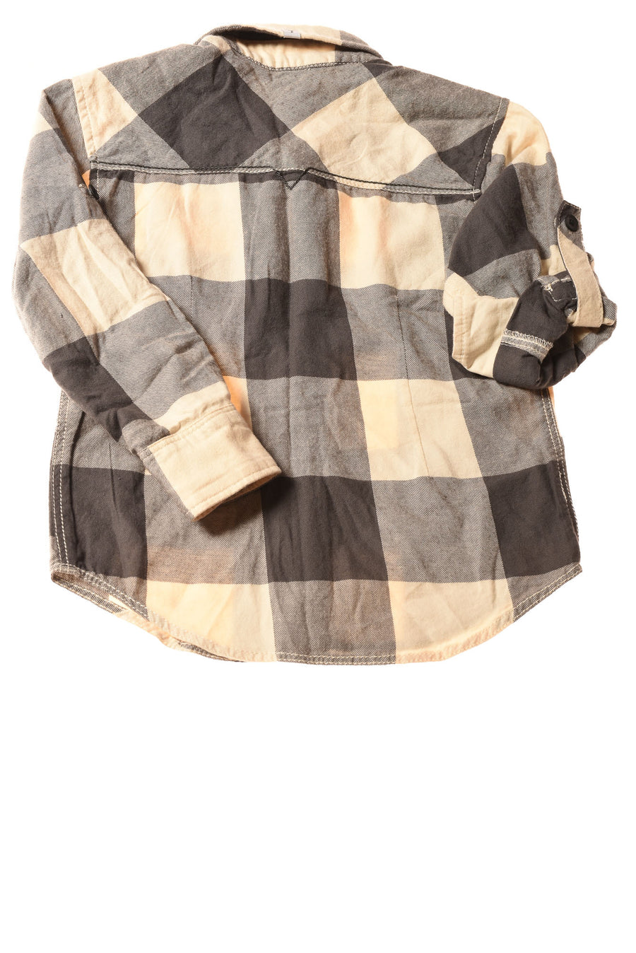 USED Guess Toddler Boy's Shirt 4 Ivory & Gray / Plaid