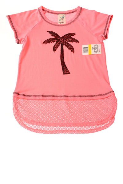 NEW Lily Bleu Girl's Top 10-12 Neon Pink / Print