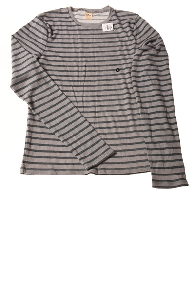NEW Hollister Men's Shirt X-Large Gray & Navy / Striped