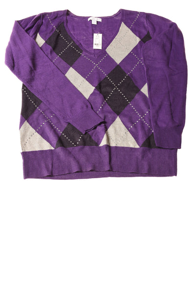 USED New York & Company Women's Sweater Large Purple / Print
