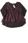 NEW Karen Kane Women's Top 2X Black & Purple / Floral