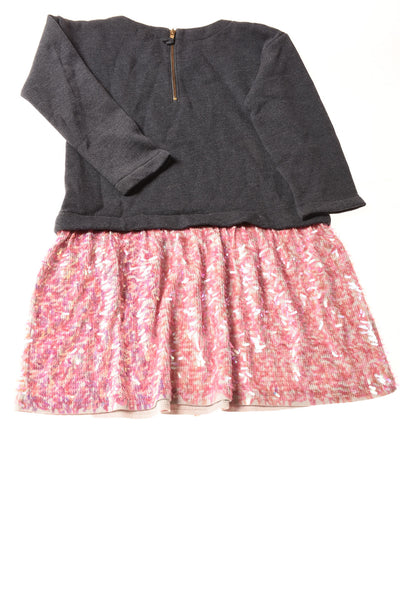 USED Crew Cuts Toddler Girl's Dress 6 Gray & Pink