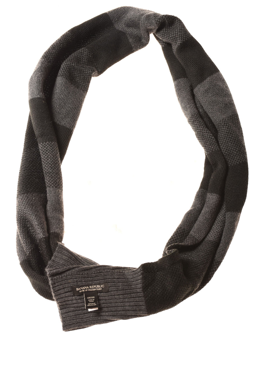 USED Banana Republic Men's Scarf One Size Black & Gray / Striped