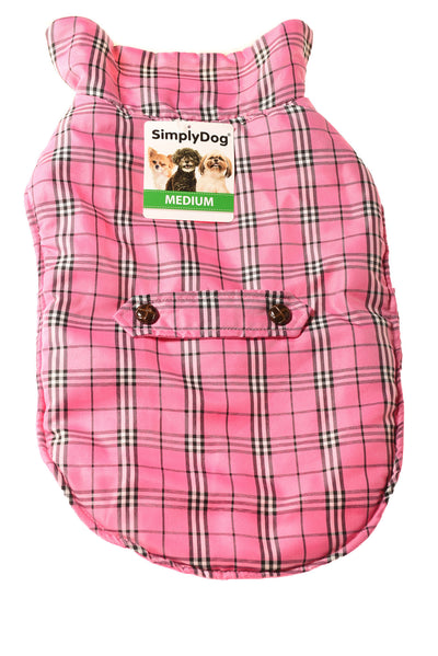 NEW Simply Dog Dog Jacket Medium Pink / Plaid