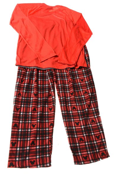 NEW Disney Women's Pajama Set Large Red & Gray / Plaid