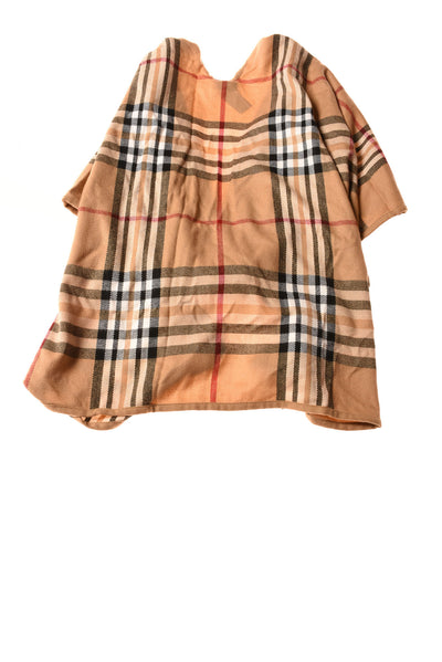 NEW Charter Club Womens Plaid Cape One Size Brown Plaid